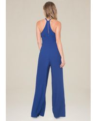 Bebe - Blue Wide Leg Jumpsuit - Lyst