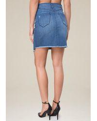 Bebe Blue Frayed Denim Miniskirt