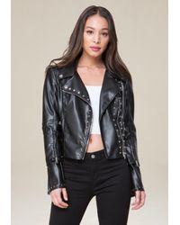 Bebe - Black Zip Sleeve Jacket - Lyst