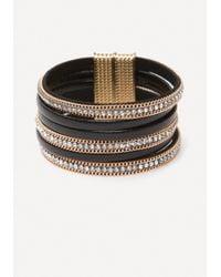 Bebe - Metallic Crystal & Faux Leather Cuff - Lyst