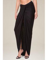 Bebe Black Shirred Front Maxi Skirt
