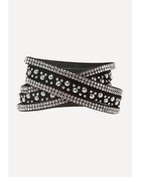 Bebe - Black Crystal Stud Wrap Bracelet - Lyst