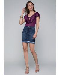 Bebe - Purple Coated Ruffle Bodysuit - Lyst