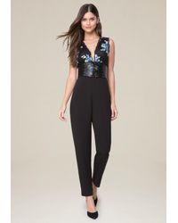 Bebe - Black Embroidered Jumpsuit - Lyst