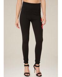Bebe | Black Rose Hip Tux Leggings | Lyst