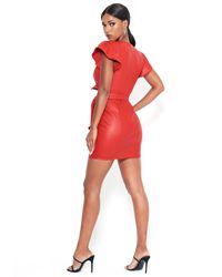 Bebe Red Faux Leather Ruffle Dress