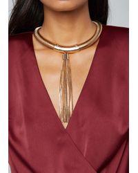 Bebe - Metallic Tassel Collar Necklace - Lyst