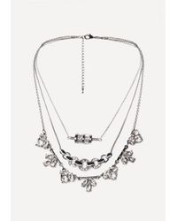 Bebe - Metallic Crystal 3-layer Necklace - Lyst