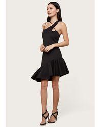 Bebe Black Scuba Flounce Hem Dress