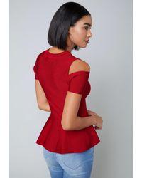 Bebe - Red Cold Shoulder Peplum Top - Lyst