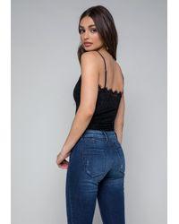 Bebe - Blue Lace Button Up Bodysuit - Lyst