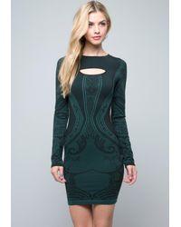 Bebe Black Long Sleeve Bodycon Dress