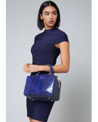 Bebe - Blue Faux Snake Box Satchel - Lyst