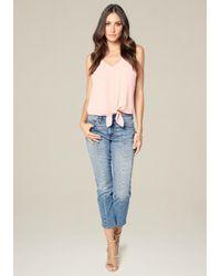 Bebe Blue Center Seam Crop Jeans