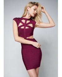 Bebe - Purple Cutout Bandage Mini Dress - Lyst