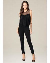 Bebe - Black Lace Tux Leggings - Lyst