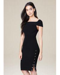 Bebe - Black Danny Ribbed Dress - Lyst