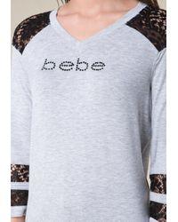 Bebe - Gray Logo Abilene Top - Lyst