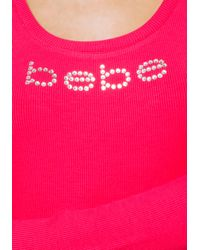 Bebe - Pink Logo Long Sleeve Cage Top - Lyst