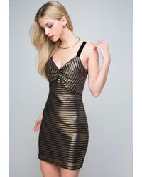 Bebe Black Gold Stripe Dress