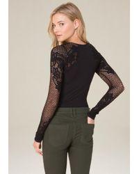 Bebe - Multicolor Lace Detail Bodysuit - Lyst