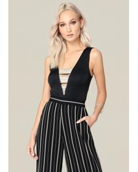 Bebe Black Jewel Banded Top