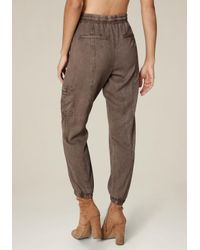 Bebe - Brown Twill Cargo Jogger Pants - Lyst