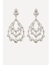 Bebe - Metallic Crystal Teardrop Earrings - Lyst