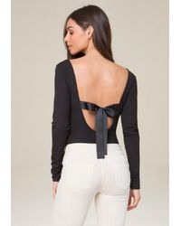 Bebe | Black Back Ribbon Tie Bodysuit | Lyst