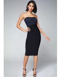 Bebe Black Zip Front Strapless Dress