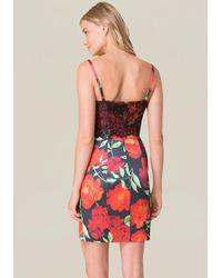 Bebe Multicolor Floral Print Bustier Dress