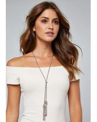 Bebe Metallic Tassel Lariat Necklace