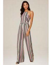 Bebe Multicolor Striped Wide Leg Jumpsuit