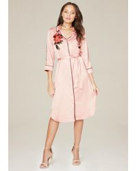 Bebe - Pink Embroidered Satin Dress - Lyst