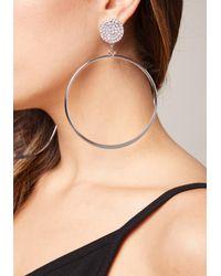 Bebe - Metallic Crystal Stud Hoop Earrings - Lyst