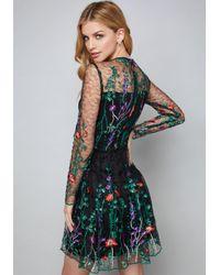 Bebe Blue Embroidered Flared Dress