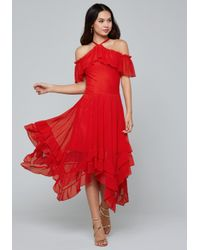 Bebe Red Ruffled Hanky Hem Dress