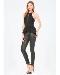 Bebe Black Lace Inset Ponte Peplum Top