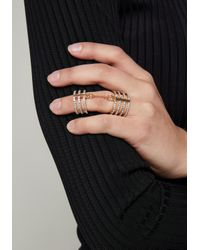 Bebe - Metallic Chain Linked Crystal Ring - Lyst
