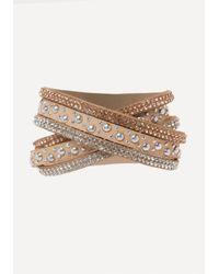 Bebe - Multicolor Crystal Stud Wrap Bracelet - Lyst
