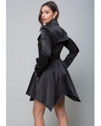 Bebe - Black Shine Trench Coat - Lyst