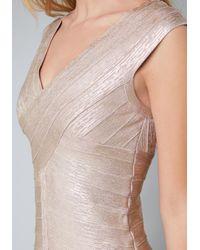 Bebe - Metallic Foil Flared Bandage Dress - Lyst