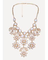 Bebe - Metallic Floral Necklace - Lyst