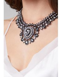 Bebe - Metallic Crystal Drop Necklace - Lyst