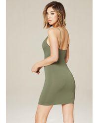 Bebe - Green Donna Ribbed Dress - Lyst