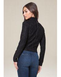 Bebe - Black Azalea Lace Moto Jacket - Lyst