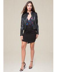 Bebe - Black Faux Leather Moto Jacket - Lyst