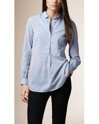 Burberry - Blue Bib Detail Cotton Tunic - Lyst