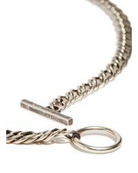 Saint Laurent Metallic Silver Chain Necklace for men