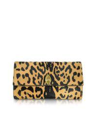 Roberto Cavalli - Multicolor Serpent Mini Jaguar Printed Haircalf Clutch - Lyst